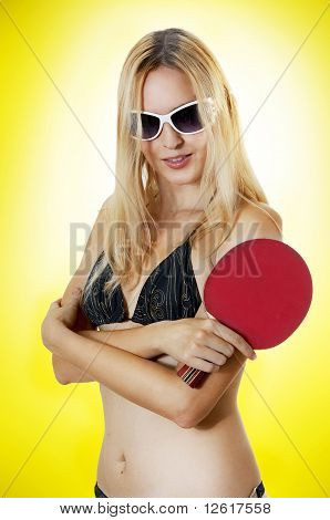 Sexy Woman With Table Tennis Racket