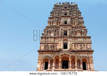 Architecture of ancient Hindu temple Gopuram in Hyderabad,India