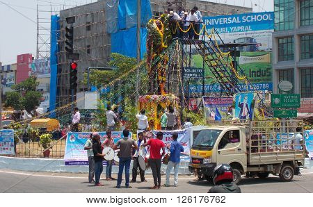 HYDERABAD,INDIA-APRIL 14:People garland and pay respect to Dr B R Ambedkar,who wrote Indian constitution, statute on 125 anniversary celebrations on April 14,2016 in Hyderabad,India