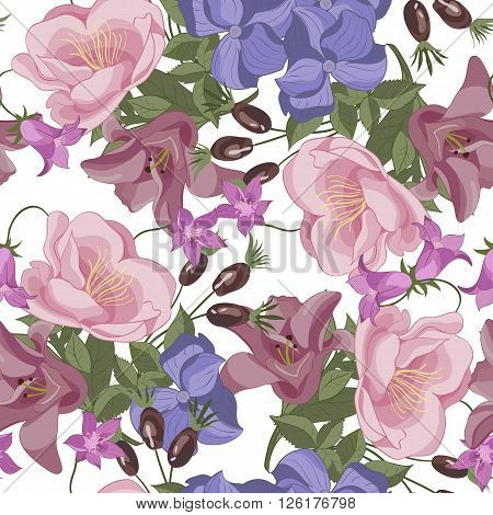 Vector seamless floral pattern with roses and bellflowers. Isolated.