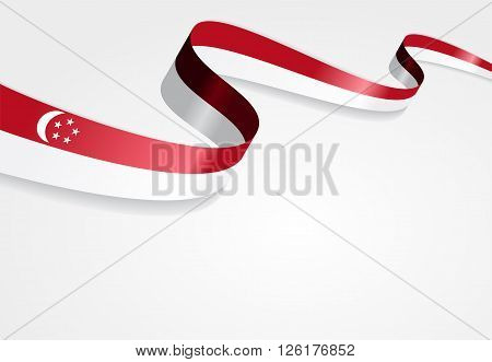 Singapore flag wavy abstract background. Vector illustration.
