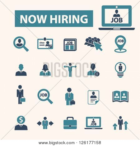 now hiring icons