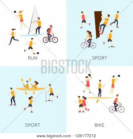 Physical activity people engaged in outdoor sports, running, cycling, skateboarding, roller skating, tennis, summer. Flat design vector illustration.