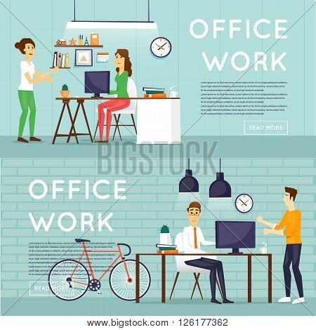 Co working people, business meeting, teamwork, collaboration and discussion, meeting around a conference table, brainstorm. Flat design vector illustration.