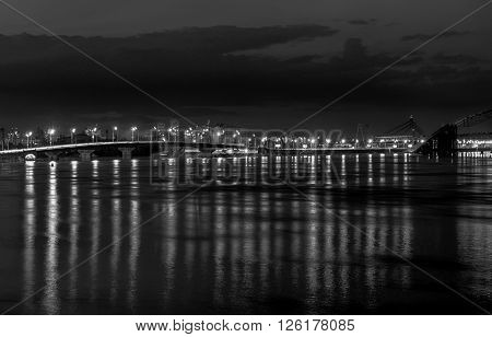 Lights Night City And Bridge With Reflections On The River Black And White