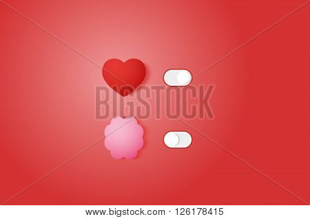 Heart and Brain Switch Controls. Concept of balance between logic and emotion. Flat vector illustration.