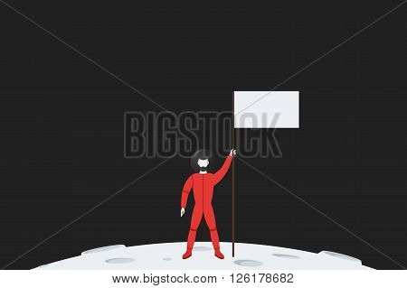 The pioneer astronaut in spacesuit standing on a planet with a flag in hand. Flat vector illustration.