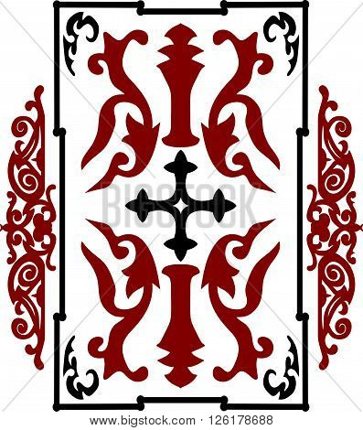 Red And Black Ancient Vintage Ornament On White Background In Style Of Crusader War Shield With A Cr