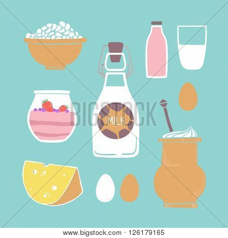 Hand drawn vector illustration - Set of milk products (milk yogurt cheese eggs cheese)