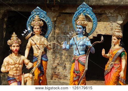 HYDERABAD,INDIA-APRIL 15: Idols of Hindu gods Rama ,laxmana, goddess sita on Transport lorry for procession rath yatra on sri rama navami festival on April 15,2016 in Hyderabad,India.