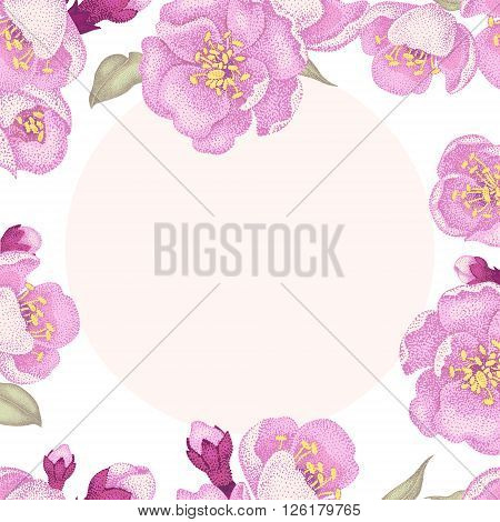 Vector card with pink sakura flowers leaves and place for text for wedding invitations congratulations. Vintage style. Oriental design. Oriental cherry tree as a symbol.