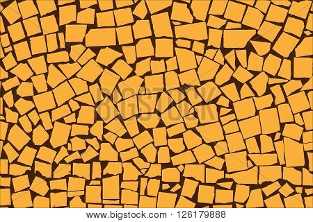 Vector Texture Of Orange Asymmetric Decorative Tiles Wall. Vector Illustration