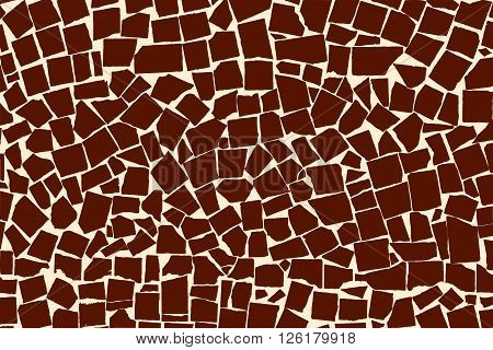 Vector Texture Of Brown Asymmetric Decorative Tiles Wall. Vector Illustration