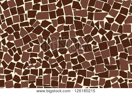 Vector Texture Of Brown Two Colored Asymmetric Decorative Tiles Wall. Vector Illustration