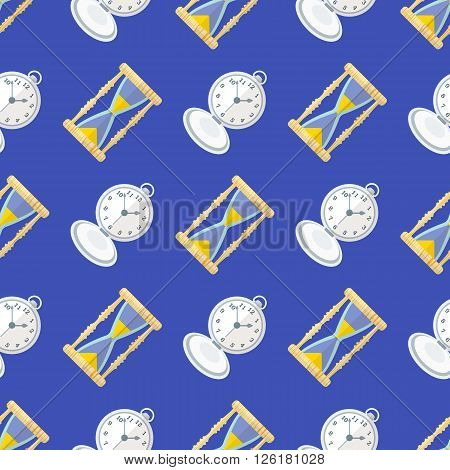 Vector Clock Watches Seamless Pattern.