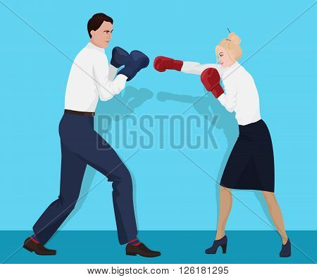 Businessman in boxing gloves having a fight with businesswoman. Fighting business partners
