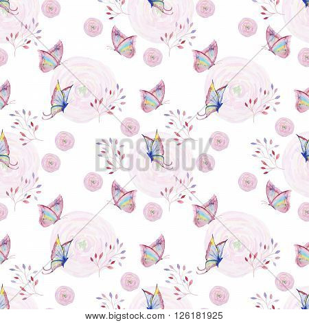 Seamless watercolor pattern with butterfly, flower and branch. Vintage seamless pattern with butterfly, flower and branch. Watercolor paint. Watercolor pattern for wallpaper design. Watercolor seamless background.