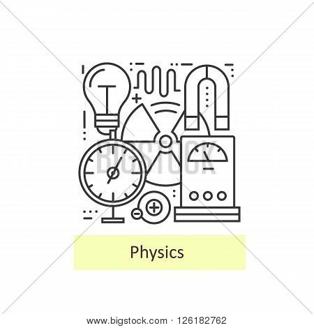 Modern thin line icons of physics for school, university and training. Modern concept of a collection of vectors.