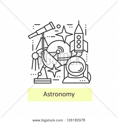 Modern thin line icons of astronomy. Set astronomical symbols planet, stars, asteroid, observatory, astronaut,  telescope and rocket. Modern concept of a collection of vectors.