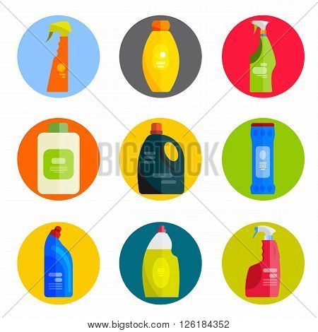 Vector set of cleaning tools. Flat design style. Cleaning supplies isolated. Cleaning bottles, Stuff for cleaning room and house. Cleaning concept. Set of cleaning products.