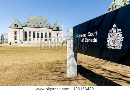 OTTAWA CANADA - April 15 2016: The Supreme Court of Canada.