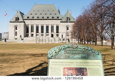 OTTAWA CANADA - April 15 2016: The Supreme Court of Canada.