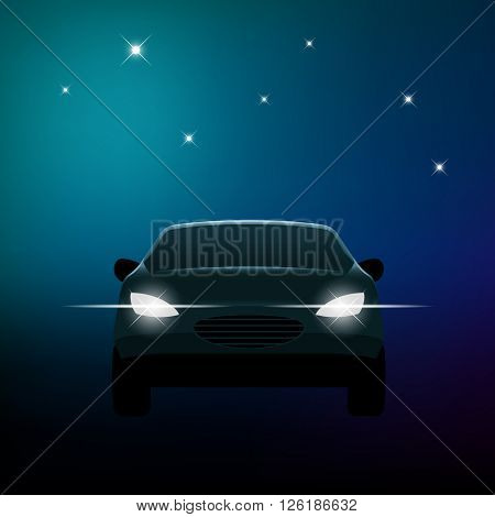 Front of a car with headlights and stars, eps10 vector