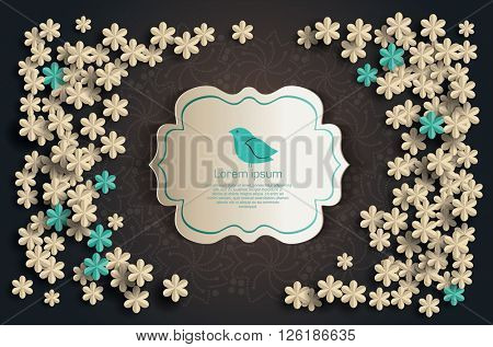 Card with flowers and bird. Flower concept. Paper floral background
