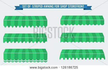 Vector illsutration set of striped awnings with two flat color. Green