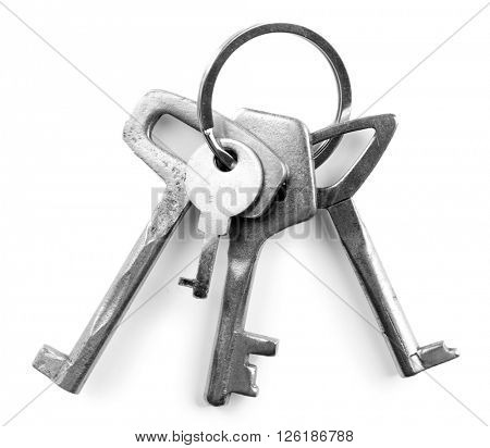 Bunch of keys, isolated on white