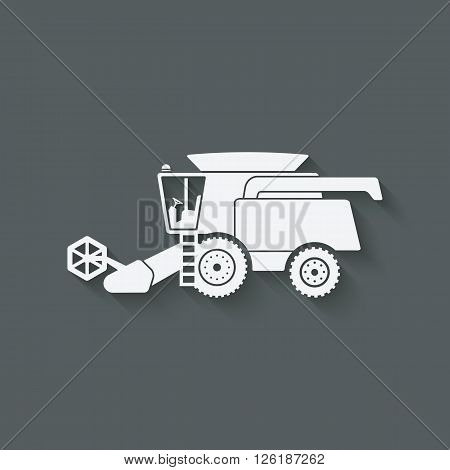 combine harvester farm machinery - vector illustration. eps 10