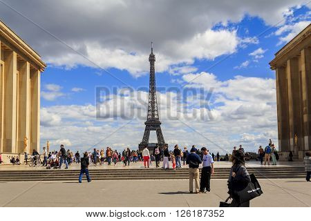Paris, France - May 11: From the observation deck on the Chaillot Palace Trocadero offers an amazing view of the Eiffel Tower May 11, 2013 in Paris, France.