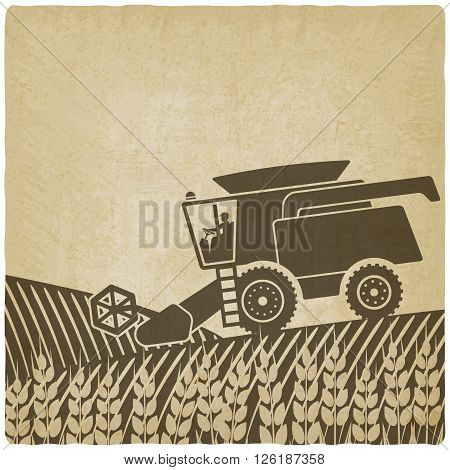 combine harvester in field old background - vector illustration. eps 10