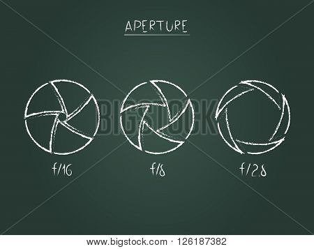 vector illustration schematically depicted aperture camera different degrees of closure depending on the value