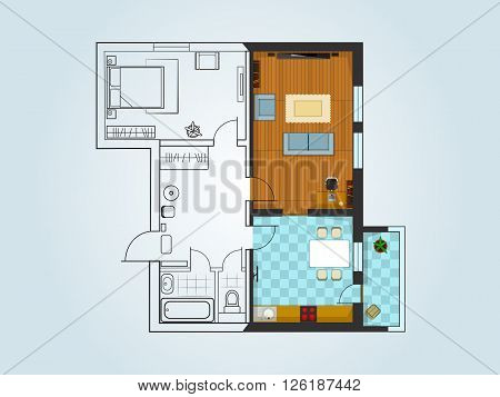 the layout of the apartment with furniture. The view from the top. The combination of the sketch and three-dimensional drawing