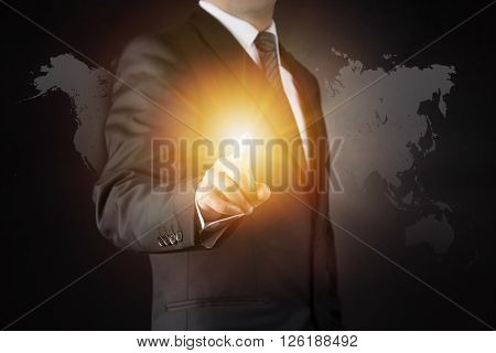 Businessman and touch concept high quality studio shot