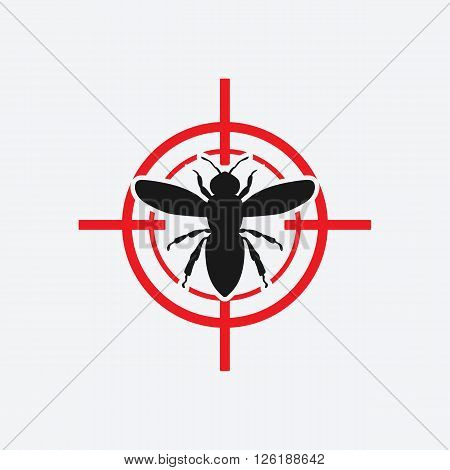 wasp icon red target - vector illustration. eps 8