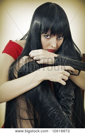 Scared Woman With Handgun