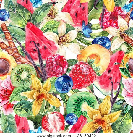 Tropical Watercolor Natural Healthy Food Eco Seamless Background  with Watermelon, Apricot, Kiwi, Vanilla and Berries, Exotic Menu Fruits Card
