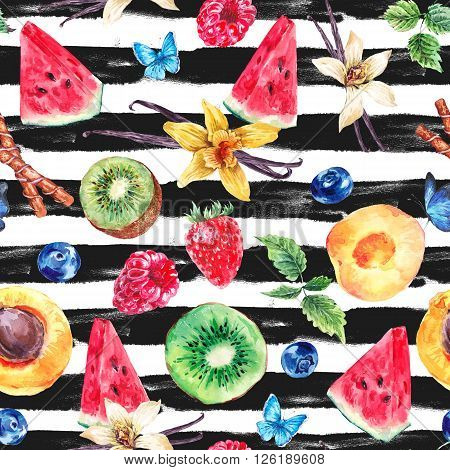 Tropical  Seamless Watercolor Pattern Natural Healthy Food Eco Pattern with Watermelon, Apricot, Kiwi, Vanilla and Berries, Exotic Menu Fruit Card on striped background