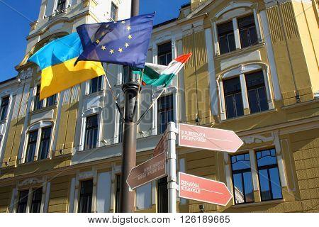 FLags in Pecs Hungary. City in Baranya county.