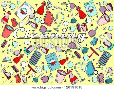 Cleaning line art design vector illustration. Cleanup separate objects. Sweeping hand drawn doodle design elements.