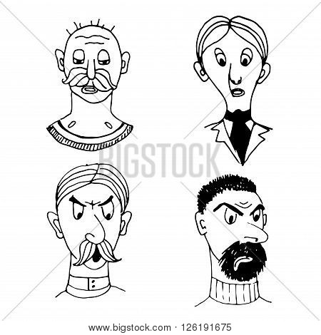 funny comic portraits of different people sketch doodle vector illustration