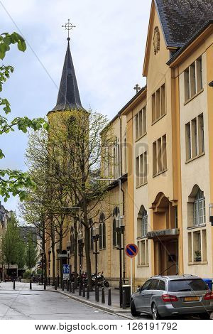 Luxembourg, Luxembourg - May 15: This is Beaumont street from Theater Square to the Church of St. Alphonsus May 15, 2013 in Luxembourg, Luxembourg.
