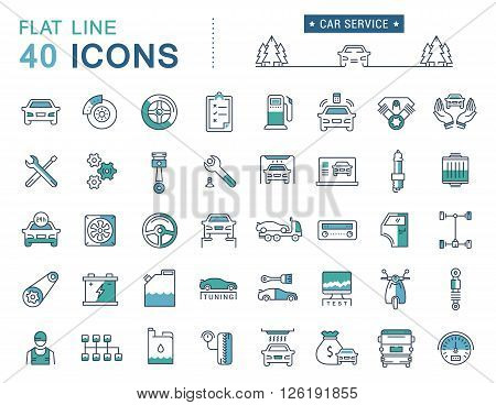 Set vector line icons car service auto repair and transport in flat design with elements for mobile concepts and web apps. Collection modern infographic logo and pictogram.