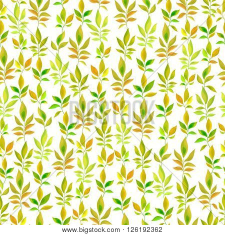 green and orange leaves seamless pattern