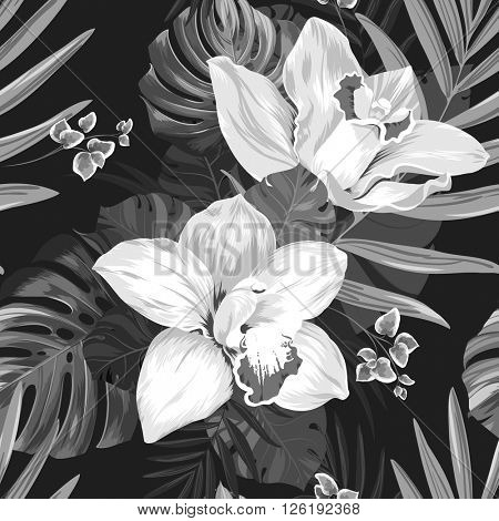 Seamless pattern of leaves monstera and blooming orchids. Monochrome composition on the black background.