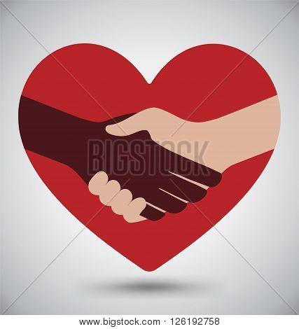 Diversity Handshake On Red Heart, Love Concept
