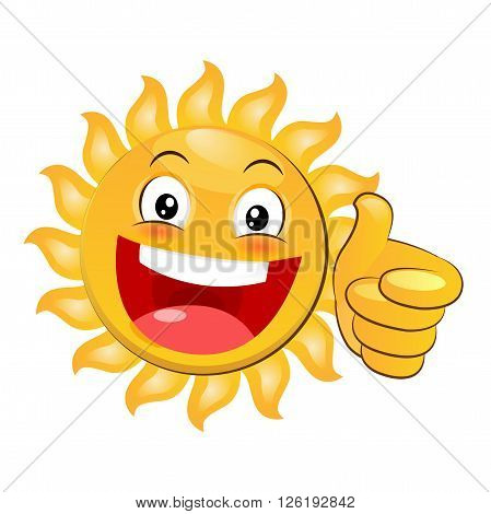 Smiling Yellow Happy Sun Giving A Thumbs Up. Cartoon Vector Isolated On White Background. Smiling Sun Emoji. Smiling Sun Sunshine. Smiling Sunshine. Smiling Sun Face. Thumbs Up Meme. Thumbs Up Icon.