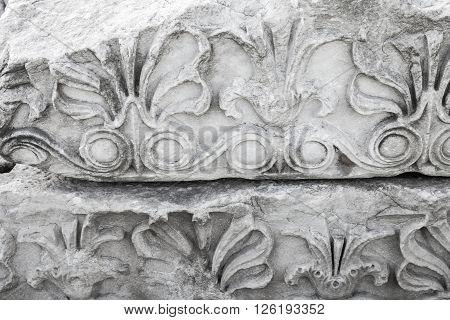 Ancient Stone Carving Ornament, White Portico